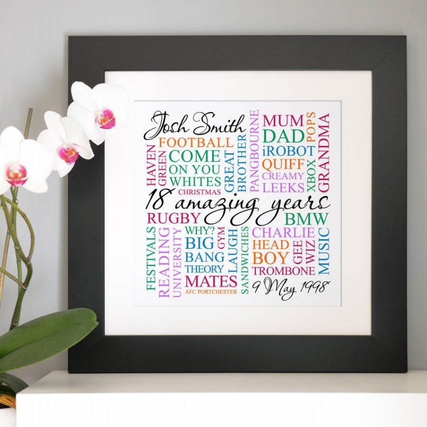 Personalised 18th Birthday Square Word Art
